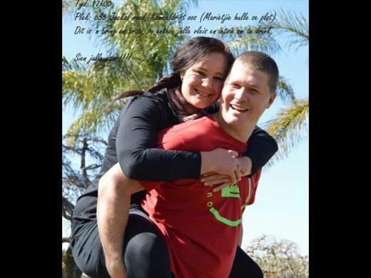 Bruce Marsh en sy verloofde, Elinda Bosker. Foto: verskaf.
