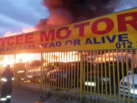 Ten cars were damaged in the fire. PHOTO: Supplied