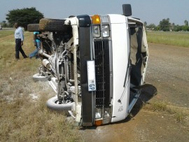 Taxi overturned in Daspoort this afternoon.  Photo: Supplie