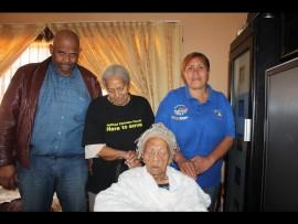 Front: Gogo Theresa Mooloo. Back from left are: Izak Jones (grandson), Ruby Jones (daughter) and Sylvia Japhta (caregiver). Photo: Thato Mahlangu