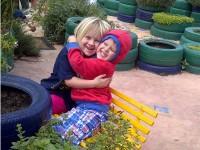 Trinityhouse Pre-Primary Randpark Ridge pupils Rachael Maritz and Joshua Mascall enjoy the school's sensory garden.