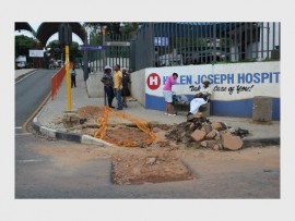 The holes in the pavement and potholes continue all the way past Helen Josef Hospital toward Westbury. File photo.