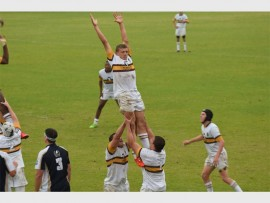 A gravity-defying line-out from Rand Park High 1st rugby team.