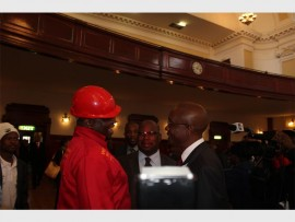 EFF Floyd Shivambu in conversation with the Johannesburg previous mayor Parks Tau.