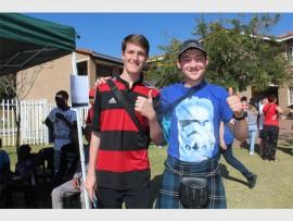 Cameron Cafferty and Jonty McHugh enjoy the spring festival.
