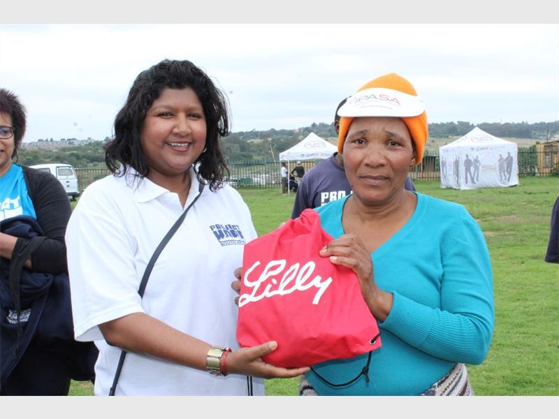 Erushka Pillay with Eva Sarela who was the first woman to finish the Fun Run.