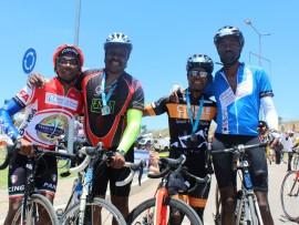 Mxolisi Mcube, Bonginkosi Ngema, Sthe Sosibo and Sifiso Masuku ride for Meals on Wheels.