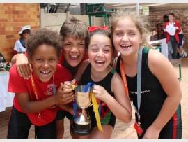 Winner of Spirit Cup was Murray: Thuto Mojanaga, Aidan du Toit, Lucie Strike-Nakar and Sydney Boucher (Grade 3 house captains). Photo: Supplied.