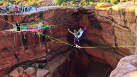 Bride And Groom Slackline 400 Feet Above Canyon Floor To Their Wedding