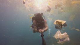 British diver films deluge of plastic waste off Bali
