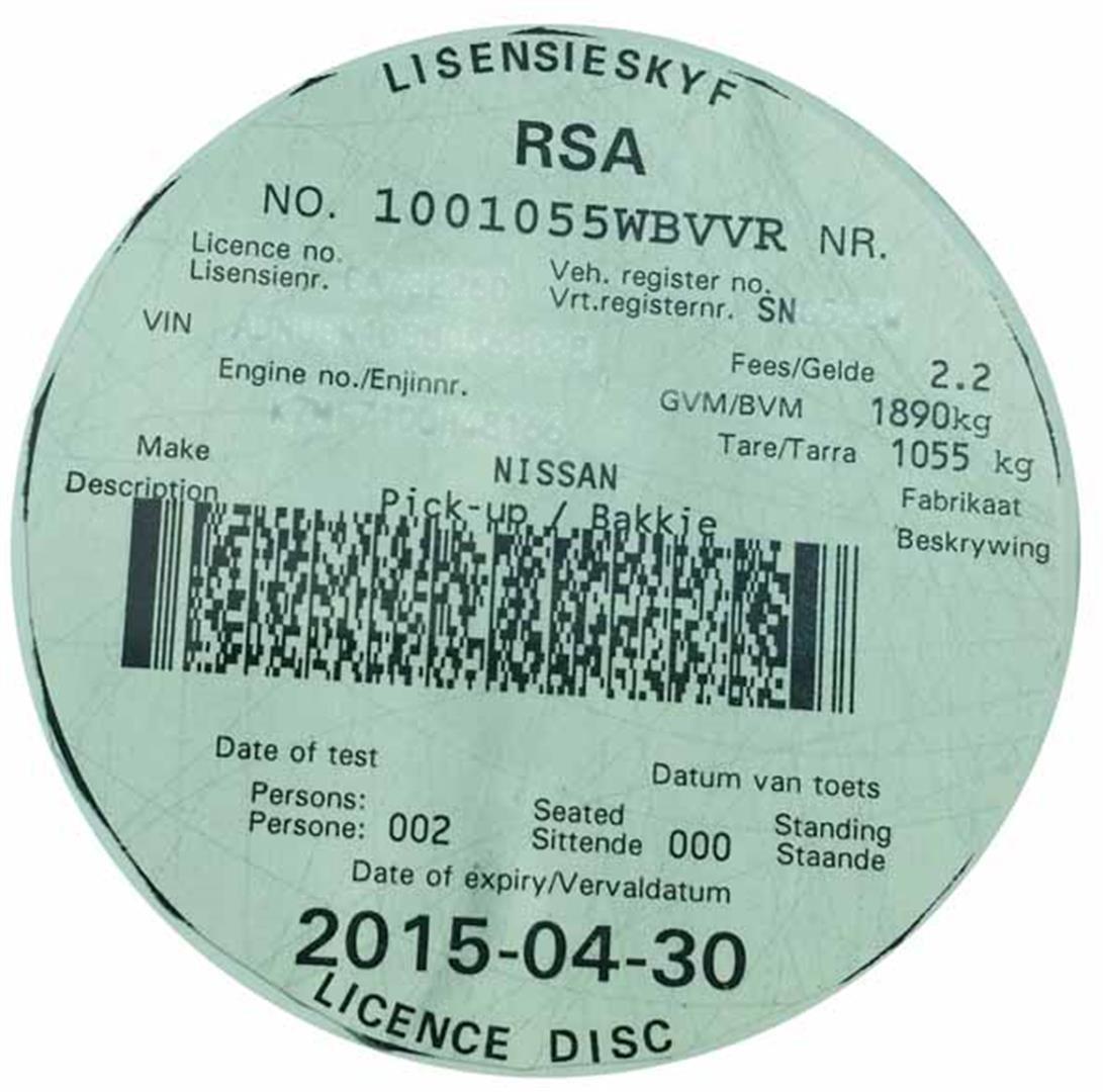 Image result for south africa car license disc